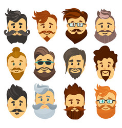 Hipster barbershop cartoon european people with vector