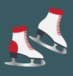 ice skates with fur footwear for winter sports vector image