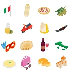 Italy isometric 3d icons vector