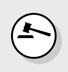 Justice hammer sign flat black icon in vector