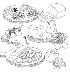 line art various sandwiches and slicing vector image vector image