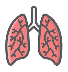 lungs filled outline icon medicine and healthcare vector image