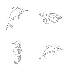 Merlin turtle and other speciessea animals set vector