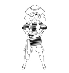 Pirate girl in striped vest boots and eye patch vector
