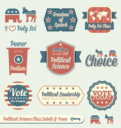 Political Science Class Labels and Icons vector image
