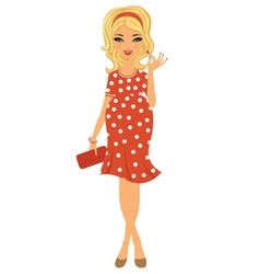 Pregnant beauty with lipstick vector