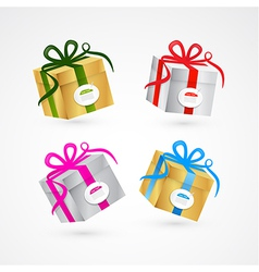Present Box Gift Box Set Gold and Silver vector image vector image