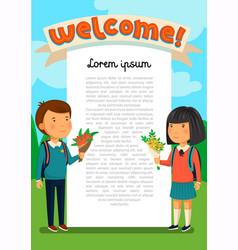 schoolboy and schoolgirl with welcome text vector image vector image