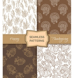 Set of sepia seamless thanksgiving patterns vector