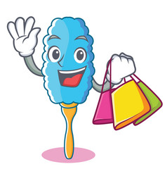 Shopping feather duster character cartoon vector
