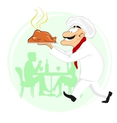 smiling cook holding plate with roast chicken vector image vector image