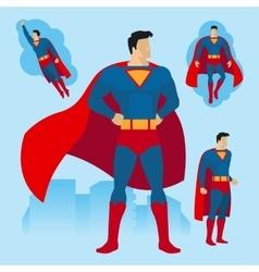 Superhero poses set vector image vector image