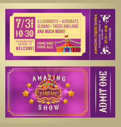 ticket for admission to circus show vector image vector image