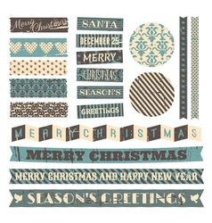 Vintage style christmas design elements set vector