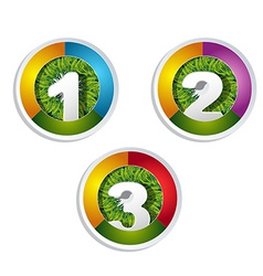 1 2 3 option button with grass element vector