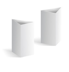 White blank table tent vertical triangle cards vector image