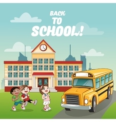 Bus building back to school design vector