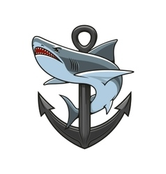 Shark and anchor heraldic emblem vector