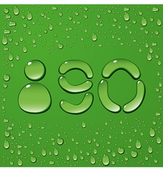 Water drop letters on green background 12 vector