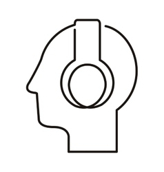 Black silhouette head with headphones vector