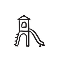 Playground with slide sketch icon vector