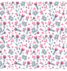 Cute seamless floral pattern in doodle style on vector