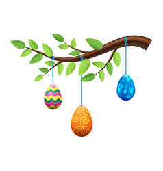 easter eggs on branch with leaves vector image