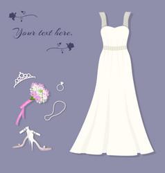 bride s set wedding dress tiara ring shoes vector image