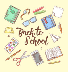Back to school doodle educational concept vector