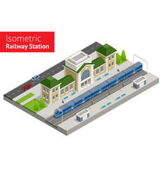 Isometric train station building with passenger vector