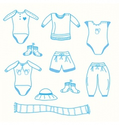 Baby boy garments collection sketch vector