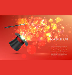 Magician top hat with fireworks vector