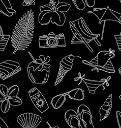Cute hand drawn sketch line icons seamless pattern vector