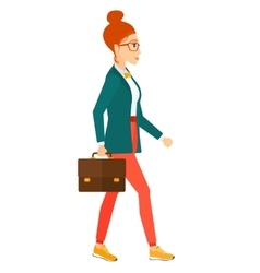 Business woman walking with briefcase vector