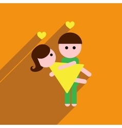 Flat web icon with long shadow pair of lovers vector