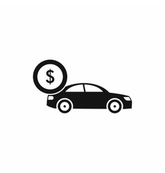 Car and dollar sign icon simple style vector
