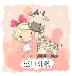 Cute girl and giraffe vector