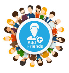 Add friends to social network vector image vector image