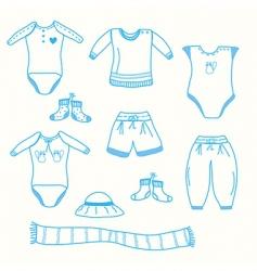 baby boy garments collection sketch vector image vector image