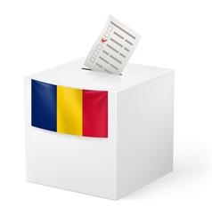 Ballot box with voting paper romania vector