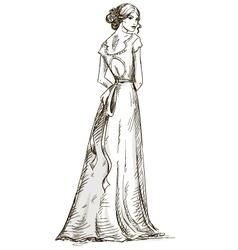 Beautiful girl bride bridal dress vector
