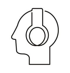 Black silhouette head with headphones vector