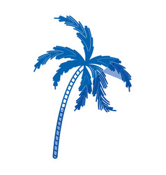 Blue shading silhouette of palm tree vector