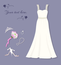 Bride s set wedding dress tiara ring shoes vector