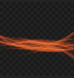 bright orange transparent abstract light swoosh vector image vector image