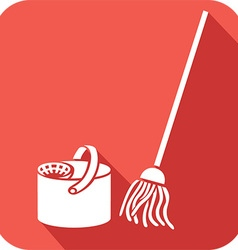 Bucket and cleaning mop icon vector