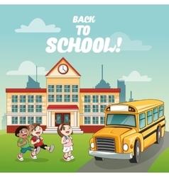 Bus building back to school design vector