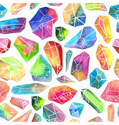 Colorful watercolor gem pattern beautiful crystal vector image