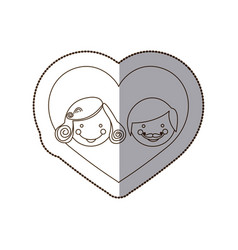 couple together inside the heart vector image vector image