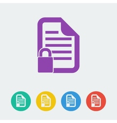 document lock flat circle icon vector image